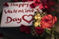Glücklicher Valentinstag geschrieben in roten Lippenstift um rote rosafarbene Blumenblätter und eine Rose lizenzfreies stockfoto
