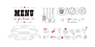 Glücklicher Valentinstag Menü für Liebhaber Nahrungsmittel mit Herzen Gekritzel-Dekorelemente Hand gezeichnet bilder Stockbild