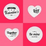 Glücklicher Valentinstag Zusammen forewer Ilove Sie Seien Sie Bergwerkvalentinsgruß Satz Beschriftung Abstrakte rosafarbene Besch Stockbild