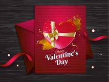 Glücklicher Valentinstaggruß-Kartenentwurf auf hölzerner Beschaffenheit lizenzfreie abbildung