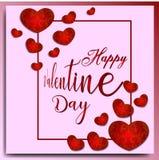 Glücklicher Valentinstaghintergrund mit Rot in der Blumenverzierung und in den rosa Hintergründen hören stockfotografie