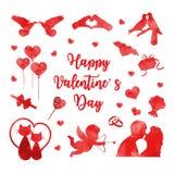 Glücklicher Valentinstagikonensatz Aquarellschattenbilder Nette Romanze Liebessammlung Gestaltungselemente mit Herzen vektor abbildung