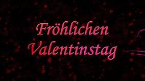 Glücklicher Valentinstagtext auf Deutsch Frohlichen Valentinstag gebildet vom Staub und von den Drehungen, um horizontal auf dunk stock video footage