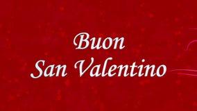 Glücklicher Valentinstagtext auf italienisch Buon San Valentino gebildet vom Staub und von den Drehungen, um horizontal auf rotem vektor abbildung