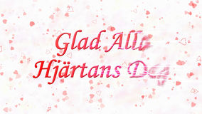 Glücklicher Valentinstagtext auf Schwedisch Glad Alla Hjartans Dag wendet sich an Staub vom Recht auf hellem Hintergrund Lizenzfreie Stockbilder