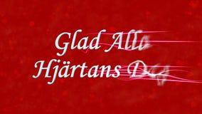 Glücklicher Valentinstagtext auf Schwedisch Glad Alla Hjartans Dag wendet sich an Staub vom Recht auf rotem Hintergrund Stockfotografie
