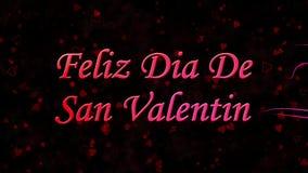 Glücklicher Valentinstagtext auf spanisch Feliz Dia De San Valentin gebildet vom Staub und von den Drehungen, um horizontal abzuw vektor abbildung