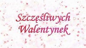 Glücklicher Valentinstagtext in polnischem Szczesliwych Walentynek gebildet vom Staub und von den Drehungen, um horizontal abzuwi stock video footage