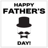 Glücklicher Vater-Day-Text mit dem Schnurrbart, Schmetterlingsbindung und Fliesenhut Schwarzes minimalistic Design für eine Karte lizenzfreies stockfoto