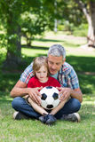 Glücklicher Vater mit seinem Sohn am Park stockbilder