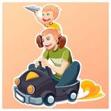 Glücklicher Vater ` s Tag familie Sohnlächeln Lizenzfreie Stockfotos