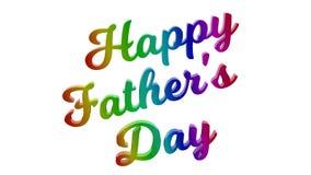 Glücklicher Vater ` s Tag kalligraphisches 3D machte Text-Illustration gefärbt mit RGB-Regenbogen-Steigung Stockfotos