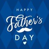 Glücklicher Vater ` s Tagesvektorbeschriftungs-Marineblauhintergrund Lizenzfreie Stockfotos