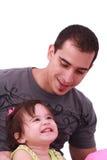 Glücklicher Vater und seine kleine Tochter Stockbilder