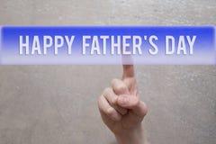 Glücklicher Vatertag - Finger, der Knopf drückt lizenzfreies stockbild