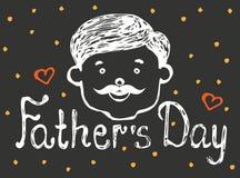 Glücklicher Vatertagshintergrund, Grußkartenschablone, Gekritzel Stockfotos