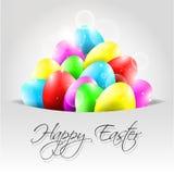 Glücklicher Vektor-Hintergrund mit bunten Eiern in der Pocke Stockbilder