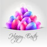 Glücklicher Vektor-Hintergrund mit bunten Eiern in der Pocke Stockfotos