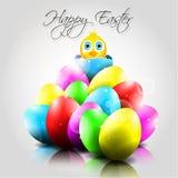 Glücklicher Vektor-Hintergrund mit bunten Eiern und Chi Stockbilder