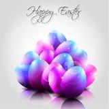 Glücklicher Vektor-Hintergrund mit purpurroten Eiern Lizenzfreies Stockbild