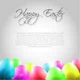 Glücklicher Vektor-Ostern-Hintergrund mit bunten Eiern Stockfotos
