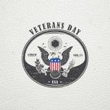 Glücklicher Veteranen-Tag Ausführliche Elemente Alter Retro- Weinleseschmutz Verkratzter, geschädigter, schmutziger Effekt Typogr Stockbilder