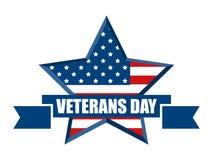 Glücklicher Veteranen-Tag November 11. Alle ehren, die dienten Roter fünf-spitzer Stern mit Flagge USA Vektor stock abbildung