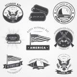Glücklicher Veteranentagessatz Unabhängigkeit Day Die Feier der patriotischen Feier von Amerika Ausführliche Elemente Typografisc Stockbild