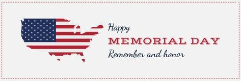Glücklicher Volkstrauertag mit USA-Karte Grußkarte mit Flagge und Karte Nationales amerikanisches Feiertagsereignis Flache Vektor Stockfotografie