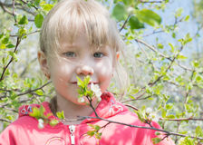 Glücklicher Wald des kleinen Mädchens im Frühjahr Stockfotografie