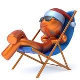 Glücklicher Weihnachtsferienmanncharakterstrand-Klappstuhl entspannen sich Stockfoto