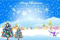 Glücklicher Weihnachtshintergrund in einem Dorf mit Illustration eps10 des Schnees überall - Stockbilder