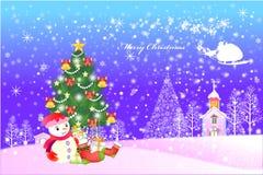 Glücklicher Weihnachtshintergrund in einem Dorf mit Illustration eps10 des Schnees überall - Stockfotos
