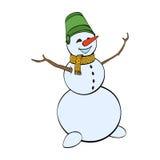 Glücklicher Winterschneemann auf weißem Hintergrund Lizenzfreie Stockfotografie