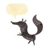 glücklicher Wolf der Karikatur mit Spracheblase Stockfoto