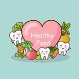 Glücklicher Zahn mit gesundem Lebensmittel Stockbild