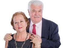 Glückliches älteres Ehemann- und Frauhändchenhalten Lizenzfreie Stockbilder