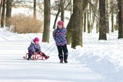 Glückliches Ältestmädchen, das ihre junge Schwester auf den Schlitten im Park des verschneiten Winters zieht Stockfoto