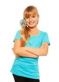 Glückliches überzeugtes blondes Mädchen Stockbilder