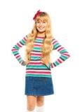 Nette blonde 10 Jahre alte Mädchen Stockfoto