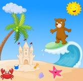 Glückliches Bärnkarikatursurfen Lizenzfreie Stockbilder