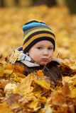 Glückliches Baby in den Herbstblättern Stockfoto