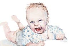 Glückliches Baby durch Aquarell Stockfotos