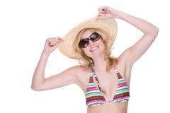 Glückliches Bikinimädchen stockfoto