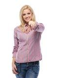 Glückliches blondes Frauenzeigen Stockbild