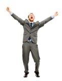 Glückliches bussinessman Gewinnen in voller Länge erfolgreich auf Weißrückseite Stockbilder