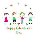 Glückliches children's Tagesvektordesign Stockbilder