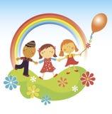 Glückliches children.rainbow. vektor abbildung