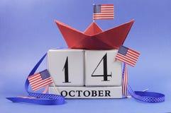 Glückliches Columbus Day, für den zweiten Montag im Oktober am 14. Oktober Feier Abwehr der Datumskalender Lizenzfreies Stockfoto