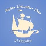 Glückliches Columbus Day Ship Holiday Silhouette flach Lizenzfreie Stockbilder